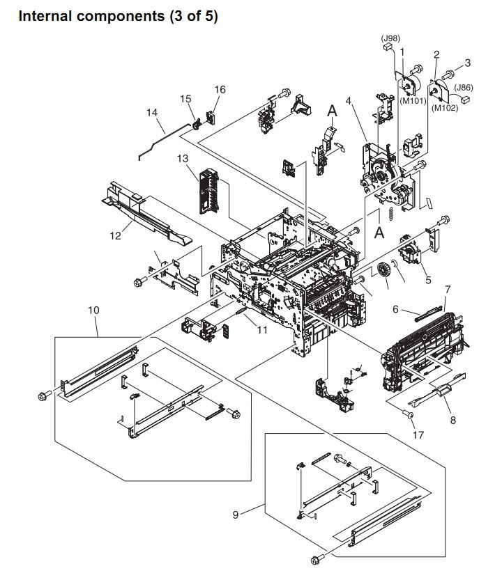 11. HP 4345 Q3942A 4345x Q3943A 4345xs Q3944A 4345xm Q3945A Internal components 3 or 5 Printer Part Diagrams