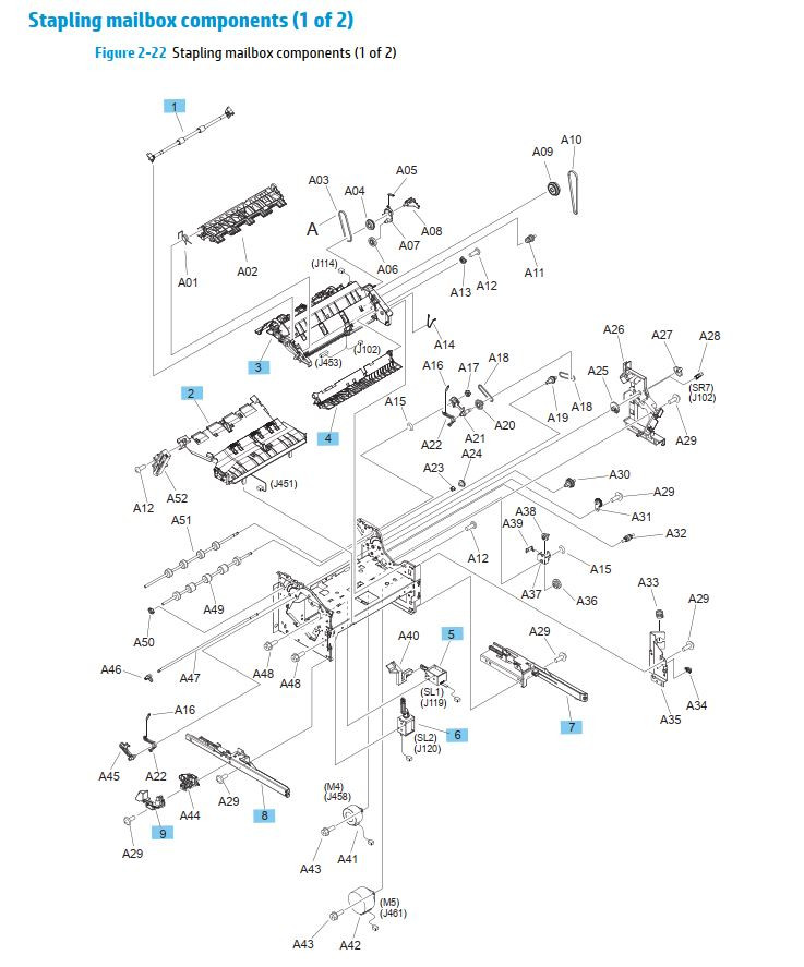 21. HP M630 Stapler mailbox components 1 of 2 printer parts diagram