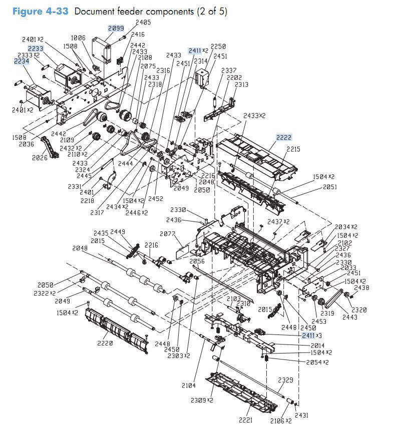 27. HP M4555 Document feeder components 2 of 5 printer parts diagram
