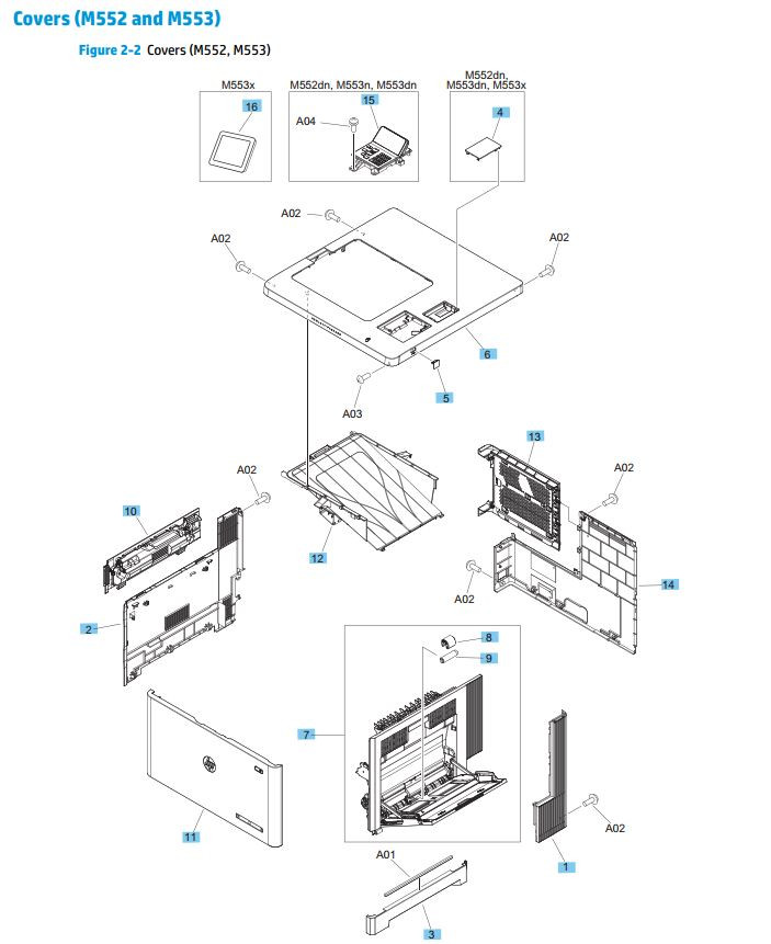 2. HP M552 M553 Covers, Panels and doors diagram printer parts diagram
