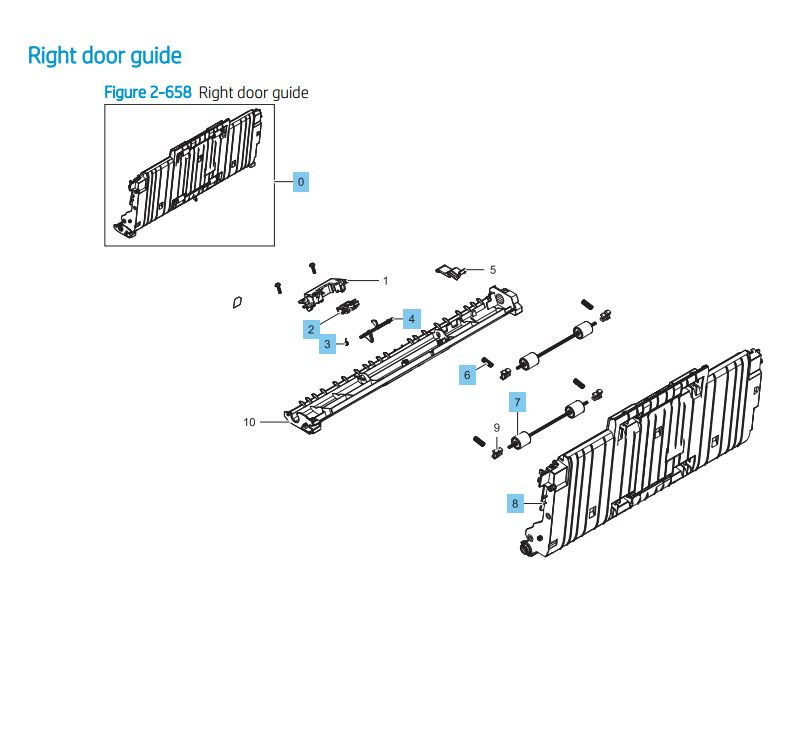 13. HP LaserJet E82540 E82550 E82560 Right Door Guide Assembly Printer Parts Diagram