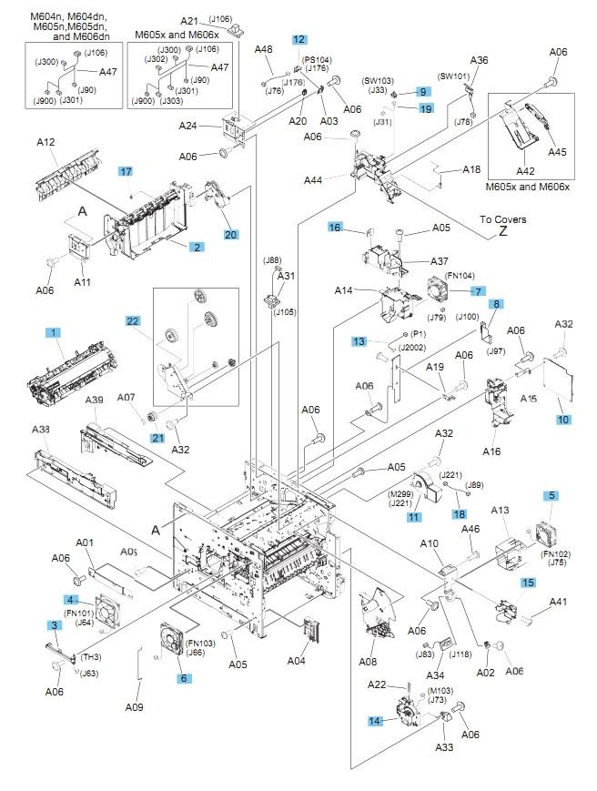 M604 M605 M606 Printers Part Diagram Internal Components, 3 of 3