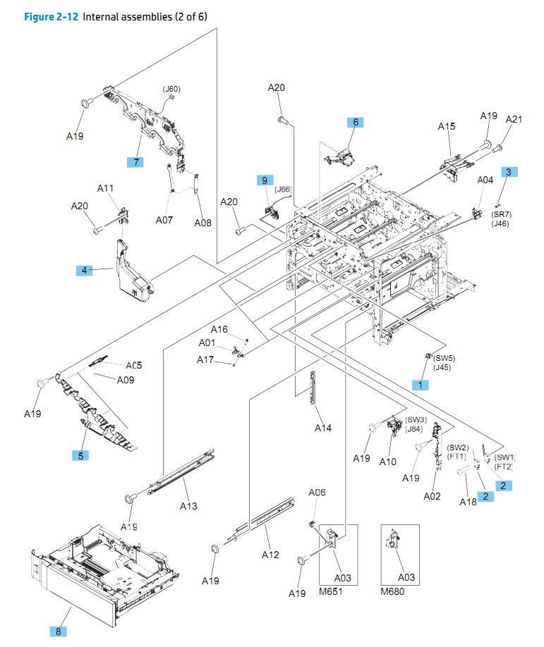 12. HP M680 M651 Internal Assemblies 1 of 6 printer parts diagram