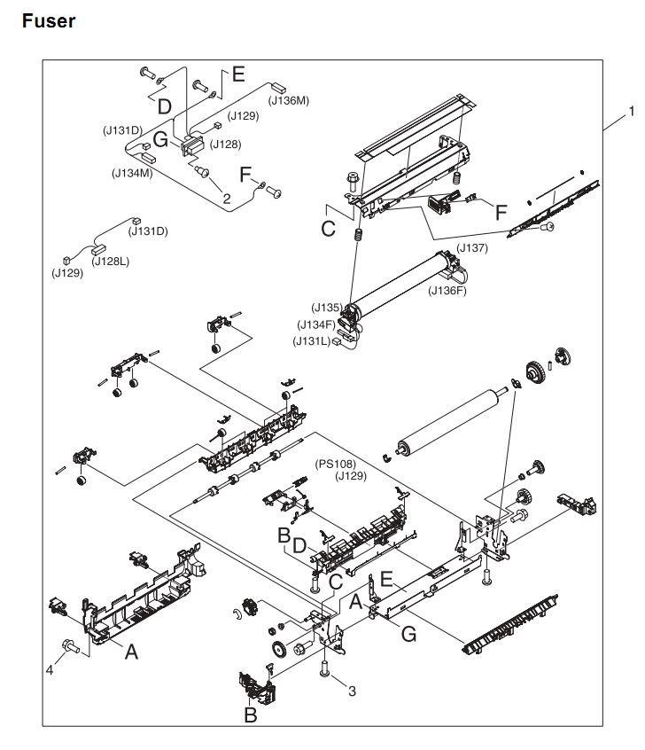 24. HP 4345 Q3942A 4345x Q3943A 4345xs Q3944A 4345xm Q3945A Fuser assembly Printer Part Diagrams