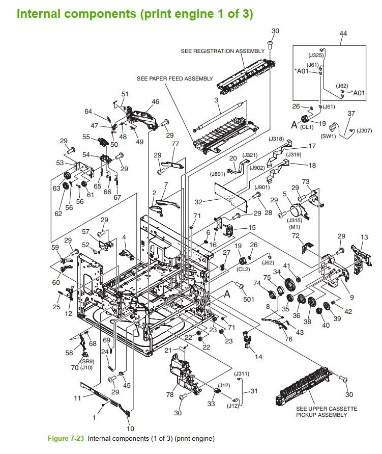 22. HP M5025 M5035 Internal component 1 of 3 printer part diagrams