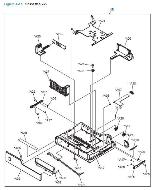 11) HP CP4025 CP4525 Paper Cassettes 2-5 Printer Diagram