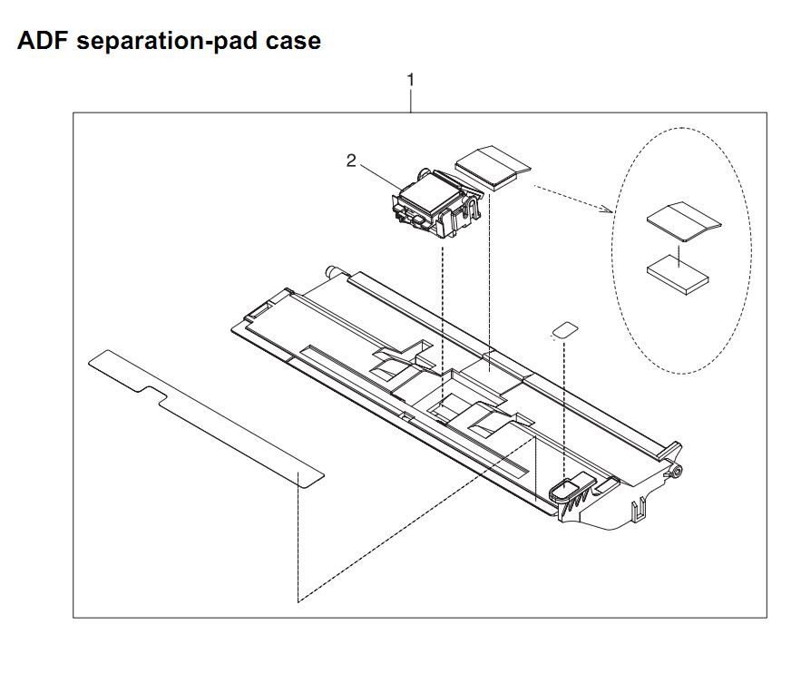 31. HP 4345 Q3942A 4345x Q3943A 4345xs Q3944A 4345xm Q3945A ADF separation pad case Printer Part Diagrams