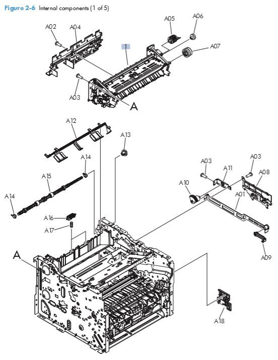 3. HP M401 M425 Internal assemblies 1 of 5 printer parts diagram