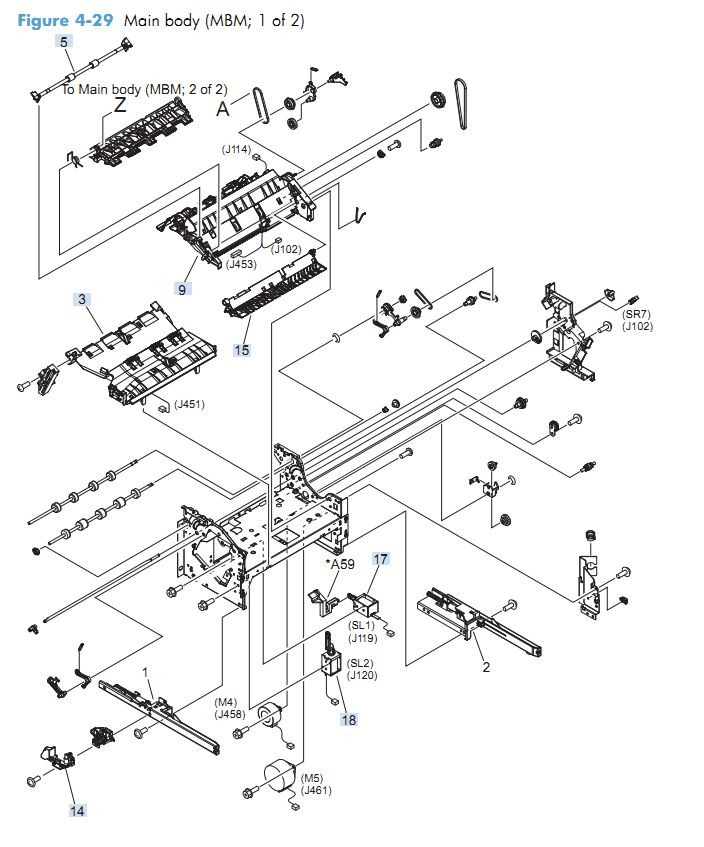 23. HP M4555 Main body MBM 1 of 2 printer parts diagram