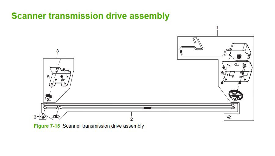 15. HP M5025 M5035 Scanner transmission drive assembly printer part diagrams