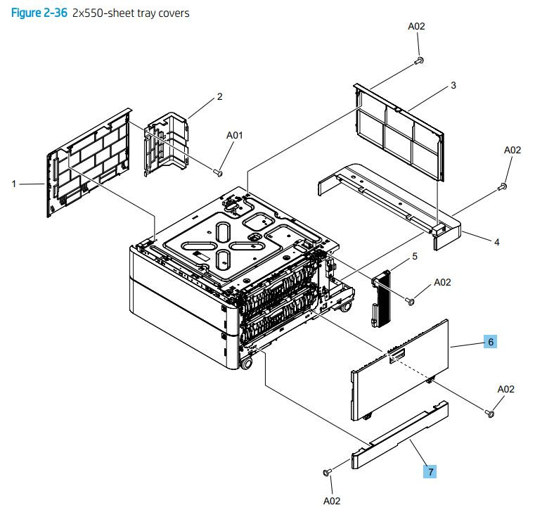36. HP M776dn M776z M856 E85055 2 x 550 sheet tray covers printer parts diagram