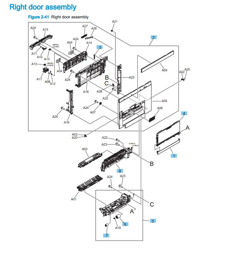 7. HP M880 Right door assembly printer part diagrams
