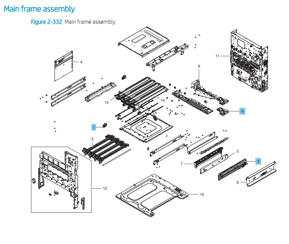 3. HP E87640 E87650 E87660 Main Frame Assembly Printer Part Diagrams