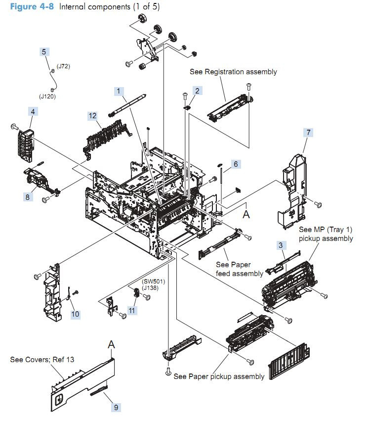 3. HP M4555 Internal Components 1 of 5 printer parts diagram