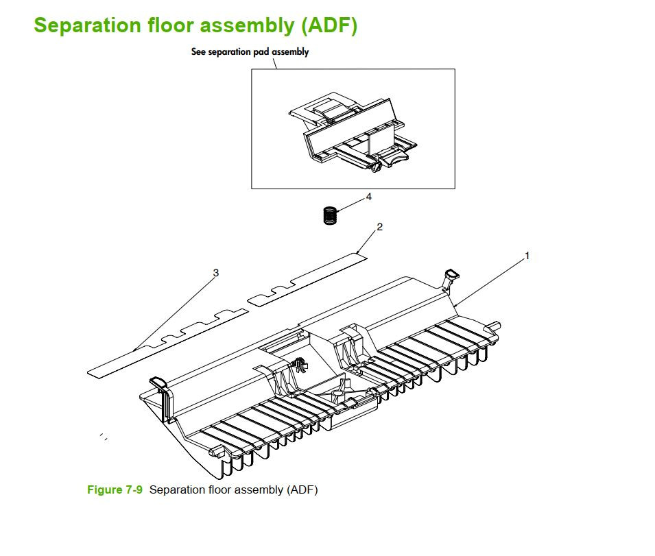 9. HP M5025 M5035 Separation Floor Assembly ADF printer part diagrams