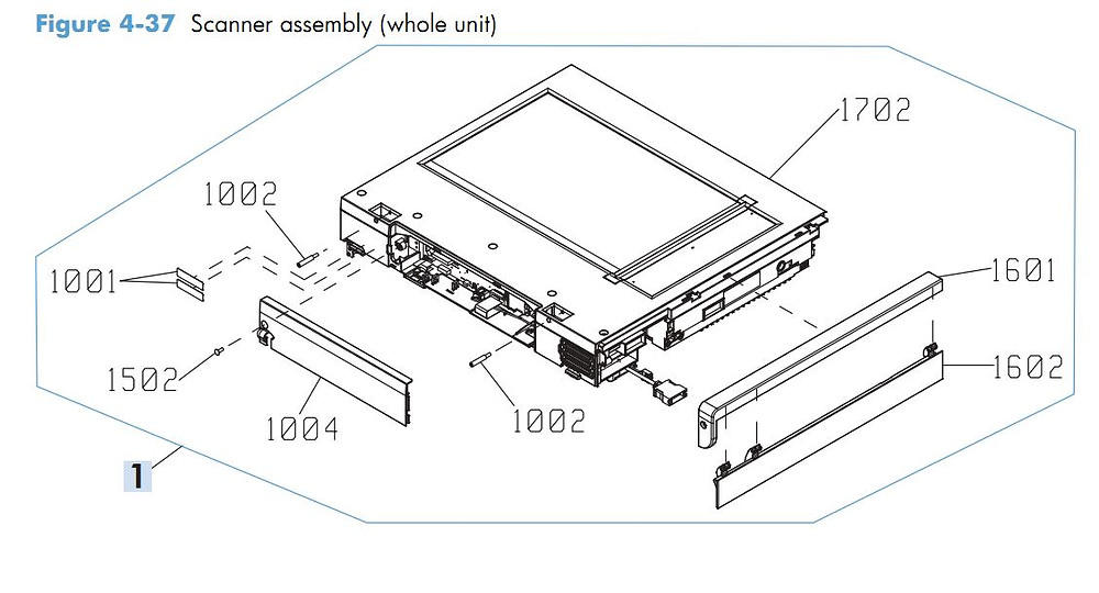 31. HP M4555 Whole Scanner Assembly printer parts diagram