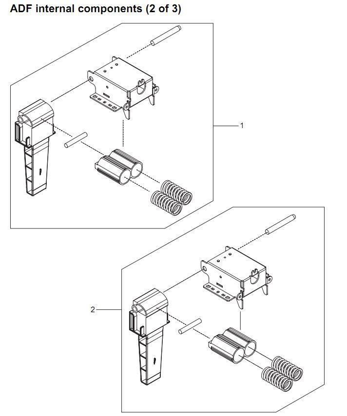 27. HP 4345 Q3942A 4345x Q3943A 4345xs Q3944A 4345xm Q3945A ADF assembly internal components 2 of 3 Printer Part Diagrams