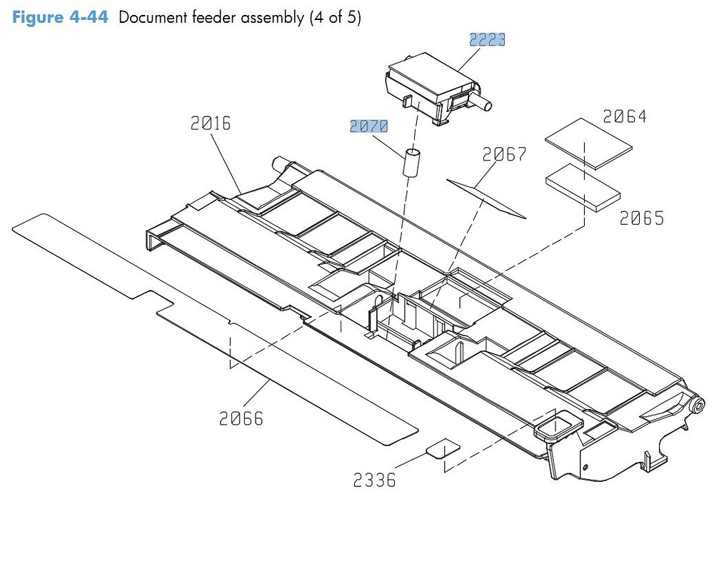 44. HP CM4540 Document feeder assembly 4 of 5 printer parts diagram