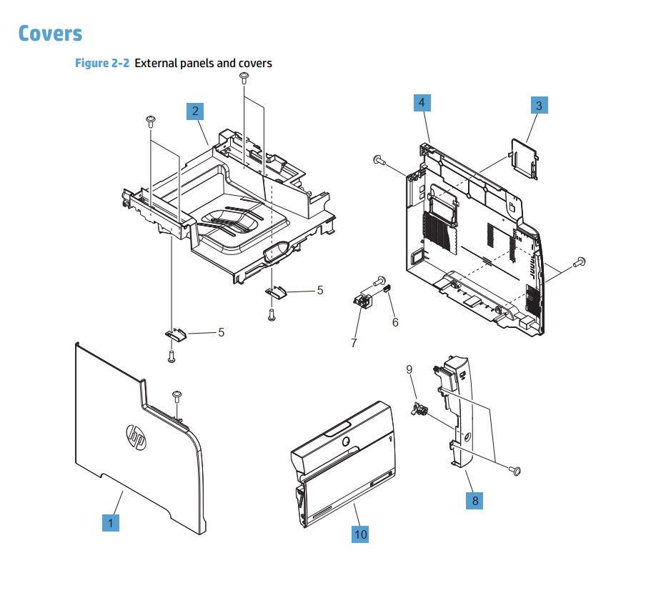 2. HP M476 Covers panels and doors printer part diagrams