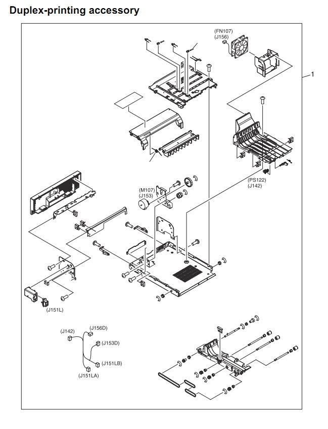 46. HP 4345 Q3942A 4345x Q3943A 4345xs Q3944A 4345xm Q3945A Duplex printing accessory Printer Part Diagrams