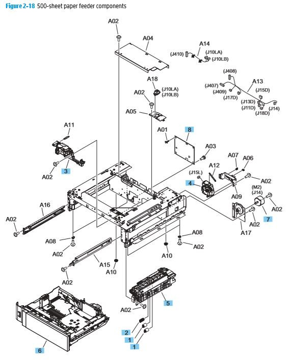 18. HP M680 M651 500 sheet paper feeder components printer parts diagram