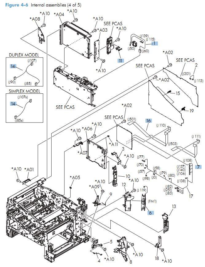 6. HP M551 Internal Components 4 of 5 printer parts diagram