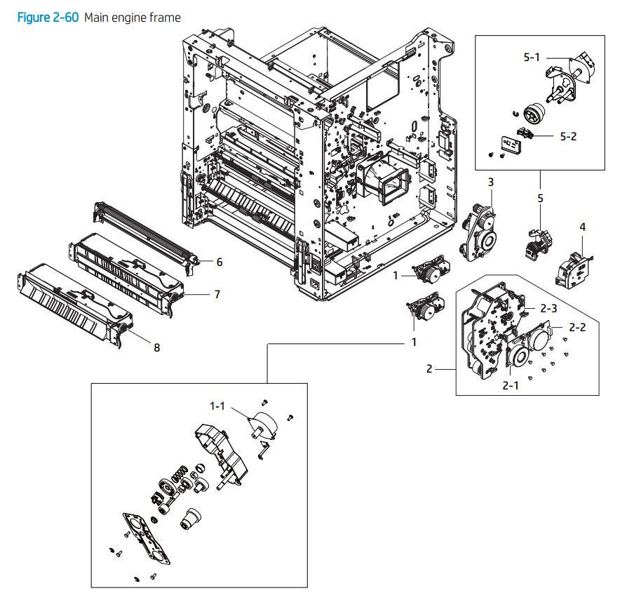4. HP E72425 E72430 Main engine frame printer parts diagram