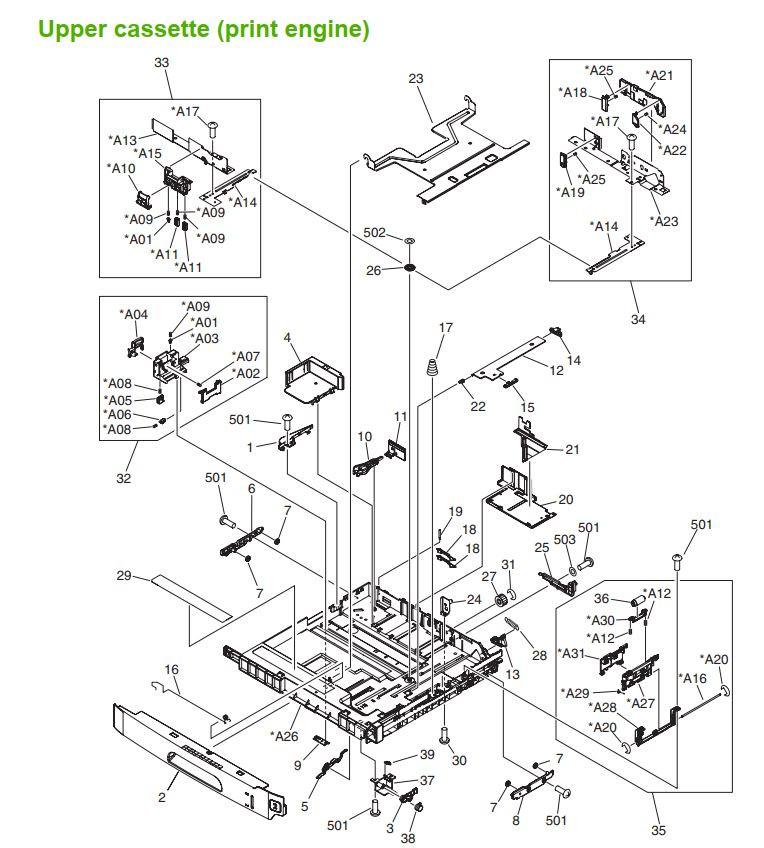 30. HP M5025 M5035 Upper Cassette assembly print engine printer part diagrams