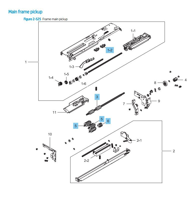 HP LaserJet E82540 E82550 E82560 Main Frame pickup Assembly Printer Parts Diagram