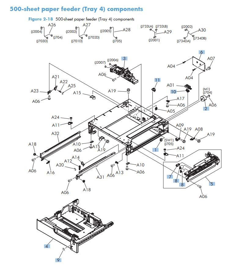11. HP M725 500 sheet paper feeder tray 4 components printer part diagrams