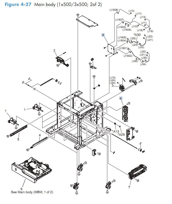 21. HP M4555 Covers paper feeder 1 x 500  3 x 500 2 of 2 sheet assembly printer parts diagram
