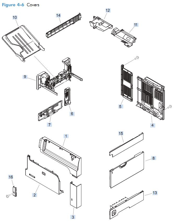 1. HP M4555 Covers, Panels and doors printer parts diagram