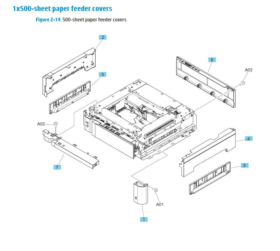 13. HP M630 1 x 500 sheet paper feeder covers printer parts diagram