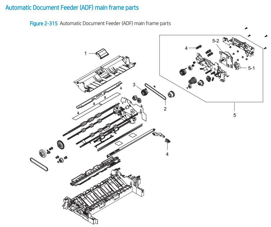 21. HP E72425 E72430 ADF Automatic document feeder main printer parts diagram