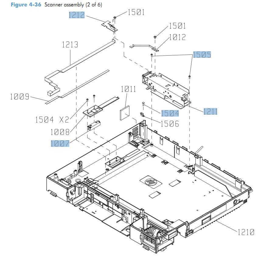 36. HP CM4540 Scanner assembly 2 of 6 printer parts diagram