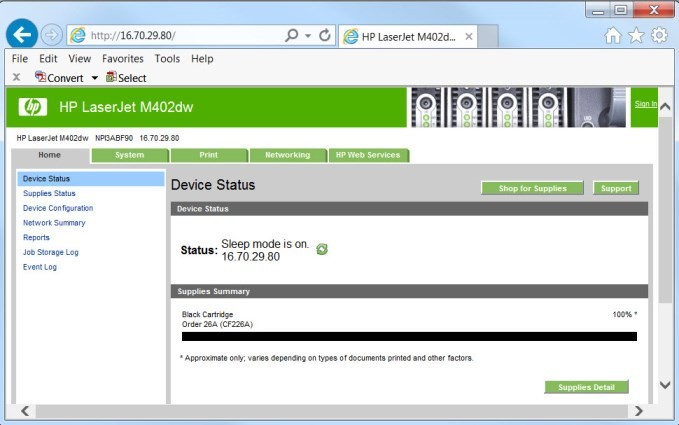 Accessing the HP Laser Printer Embedded Web Server Features