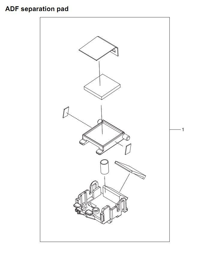 30. HP 4345 Q3942A 4345x Q3943A 4345xs Q3944A 4345xm Q3945A ADF separation pad Printer Part Diagrams