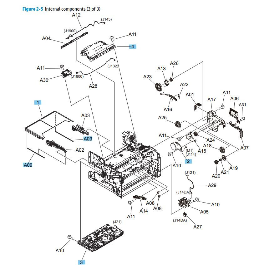 4. HP M701 M706 Internal assemblies 3 of 3 printer parts diagram