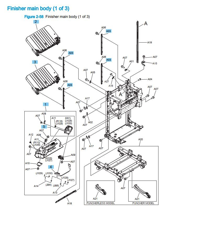 24. HP M855 M880 Finisher main body 1 of 3 printer part diagrams