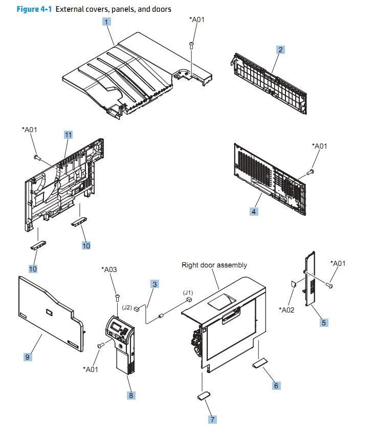 1. HP  CP5525n Covers, Panels and doors printer parts diagram