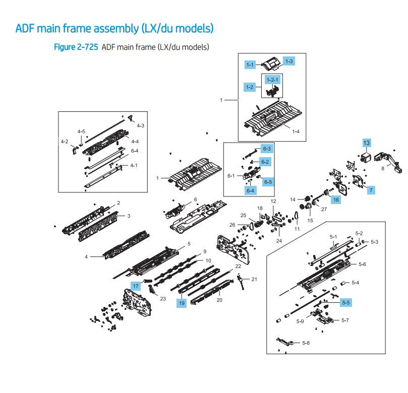 20. HP LaserJet E82540 E82550 E82560 ADF main frame assembly LX du models Assembly Printer Parts Diagram