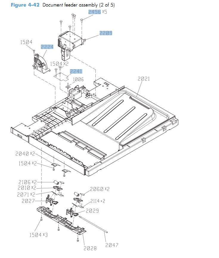 42. HP CM4540 Document feeder assembly 2 of 5 printer parts diagram