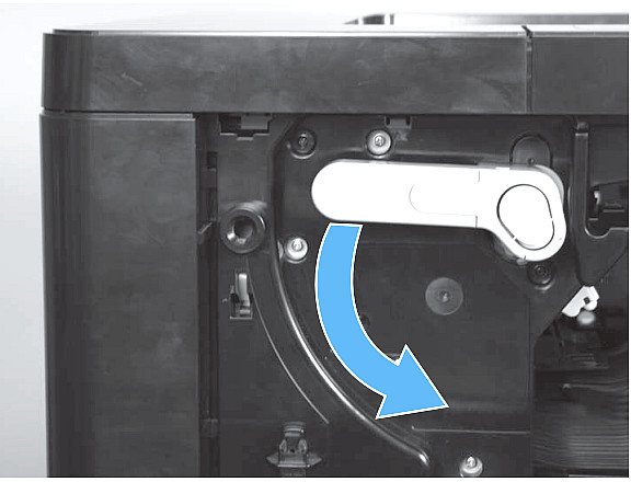 Open the front cover.  Rotate the cartridge release lever down until it clicks into place. Press the blue tab at the end of the transfer roller assembly, and slowly pull the transfer roller assembly toward the front of the printer until it stops. Lift the assembly upwards to release the catch on the underside, and then remove the assembly.