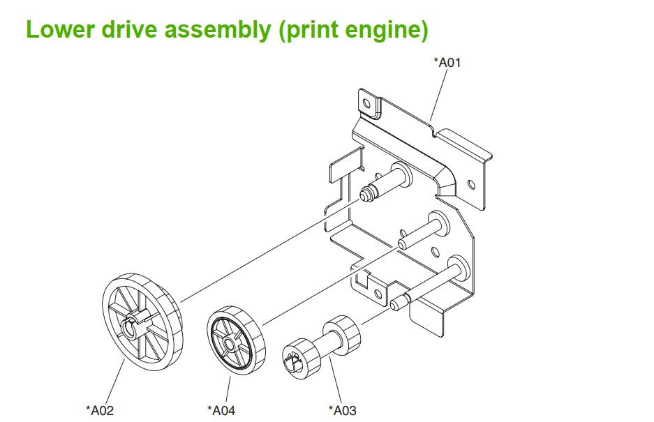 29. HP M5025 M5035 Lower drive assembly print engine printer part diagrams