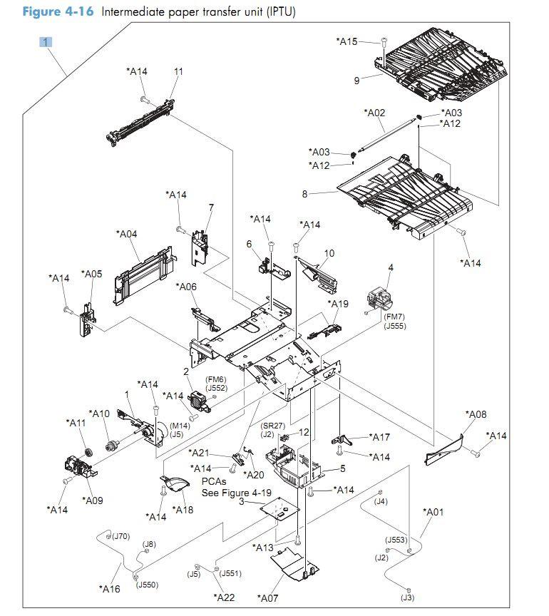 16. HP CM4540 Intermediate paper transfer unit IPTU printer parts diagram
