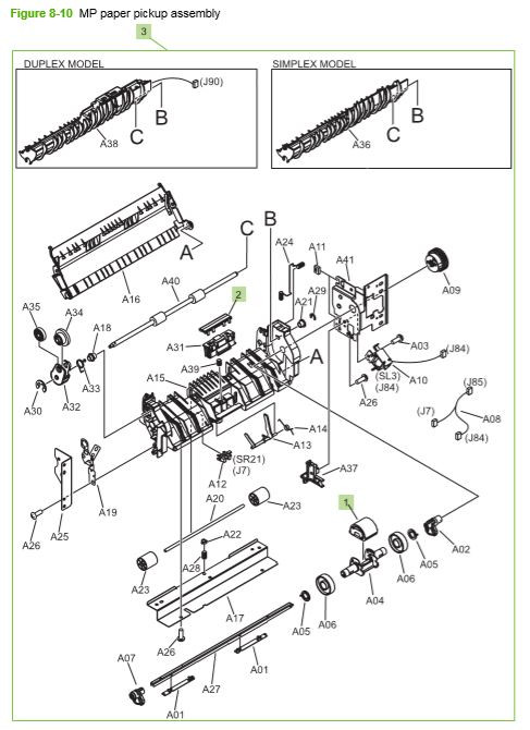 9) HP CP3525 MP paper pickup assembly printer parts diagram