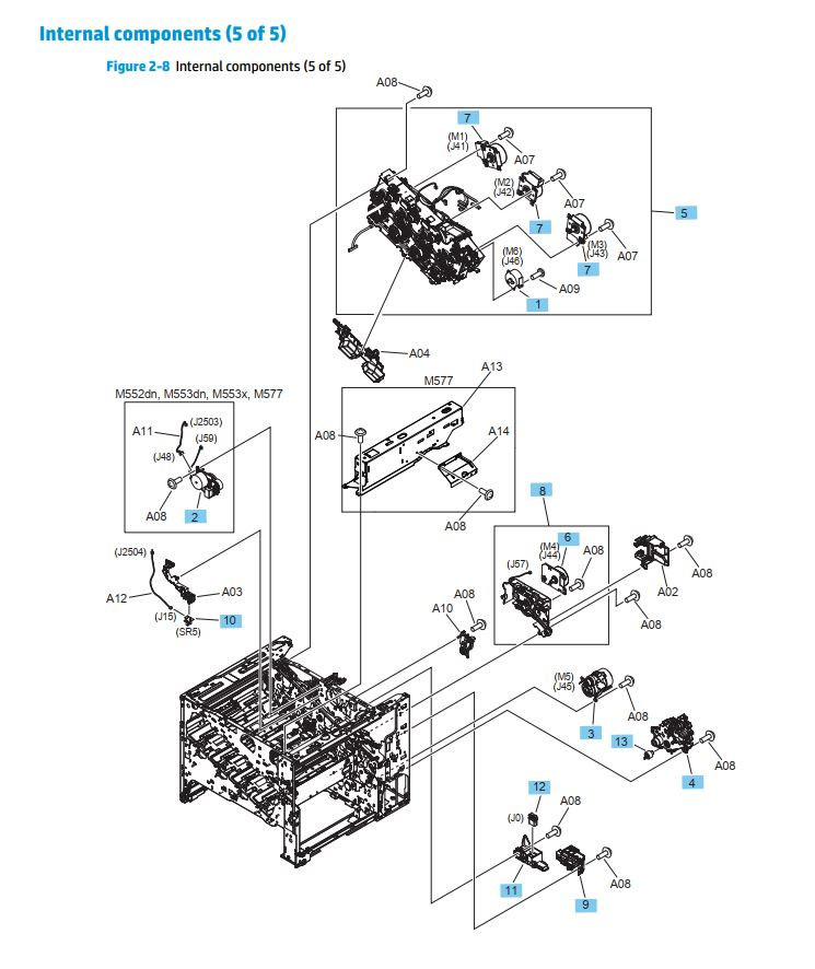 8. HP M552 M553 M577 Internal assemblies 5 of 5 printer parts diagram