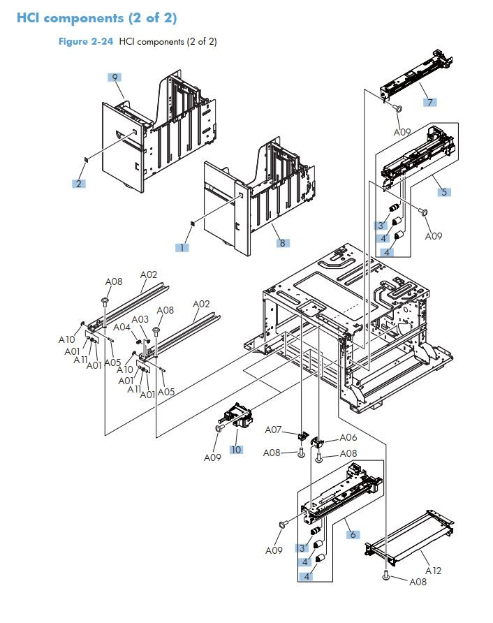 17. HP M725 HCI high capacity feeder components 2 of 2 printer part diagrams