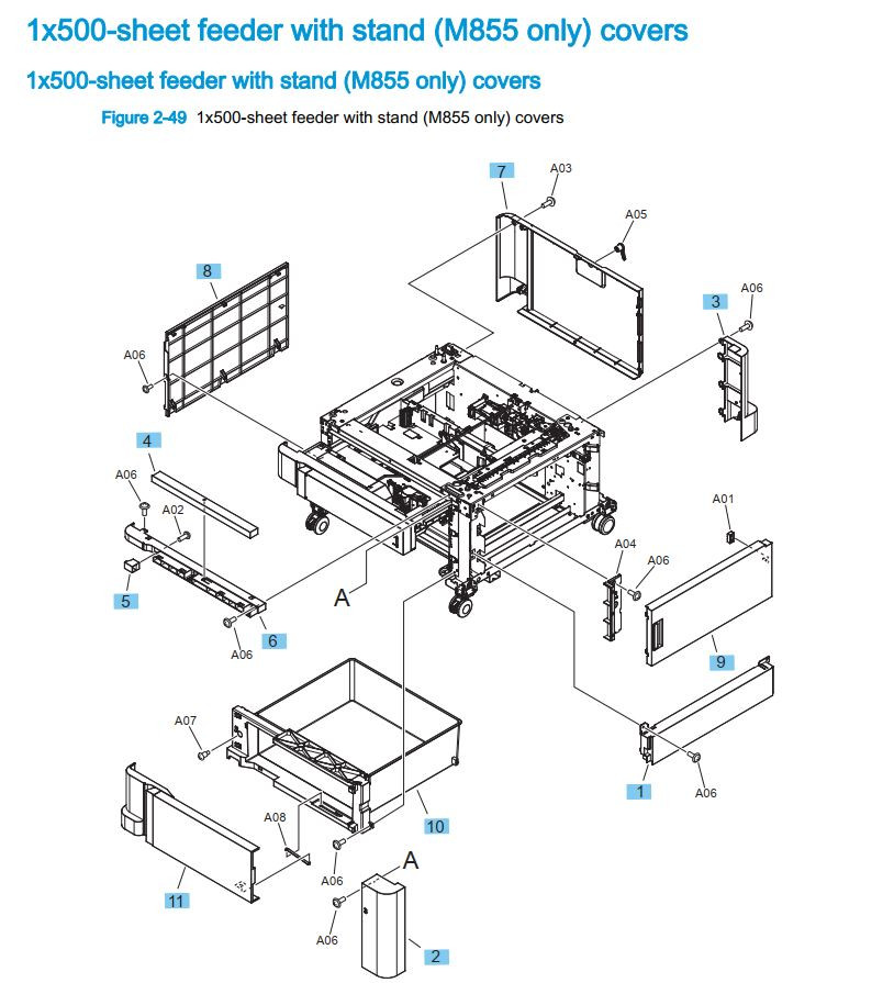 15. HP M855 1 x 500 sheet feeder with stand printer part diagrams