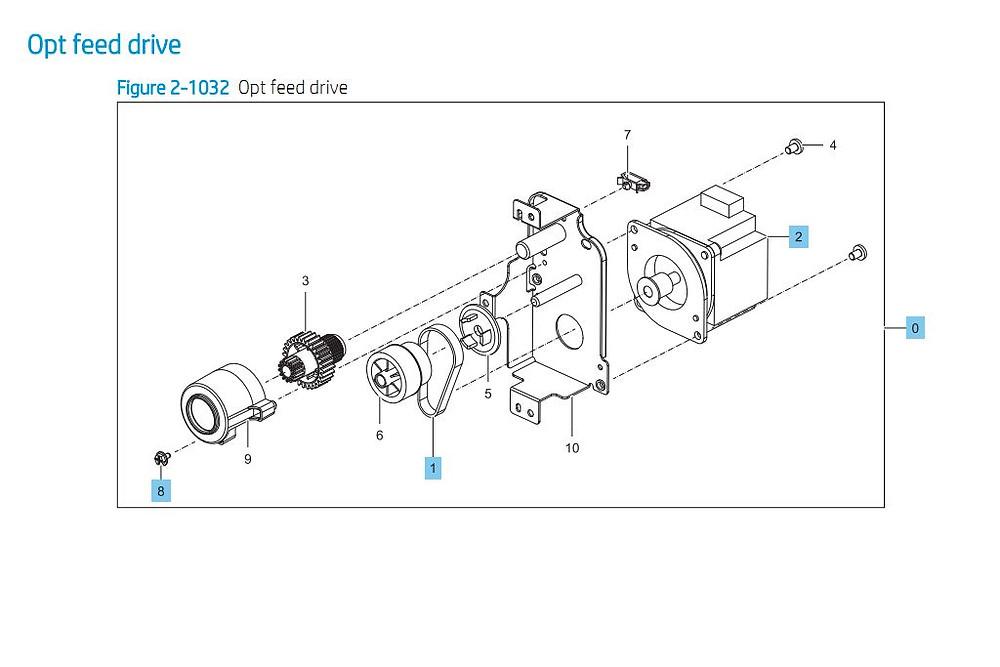 30. HP E87640 E87650 E87660 Opt Feed Drive Printer Part Diagrams